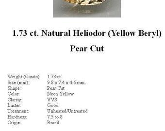 HELIODOR (Yellow Beryl) - Beautiful 1.73 ct. Pear Cut Heliodor GemStone...