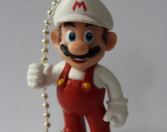 Fire Mario / Super Mario - Plastic Pendant on Shiny Silver Ball Chain