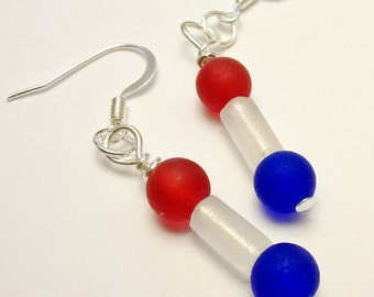 Red, White, and Blue Recycled Glass Dangled Earrings