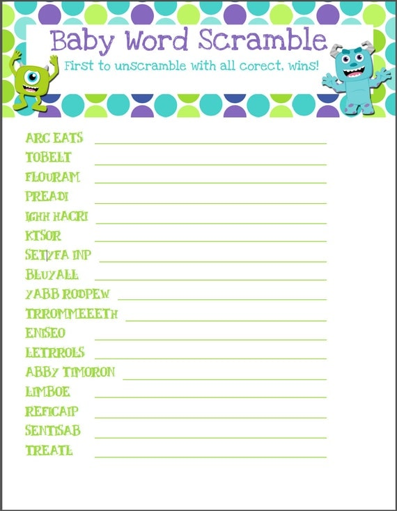 Monsters Inc Baby Shower Game - Word Scramble