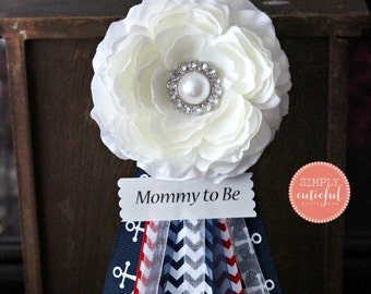 Blue Nautical Anchor Baby Shower Corsage for Boy with Red Chevron and Mommy to Be Grandma to Be and Custom Pins
