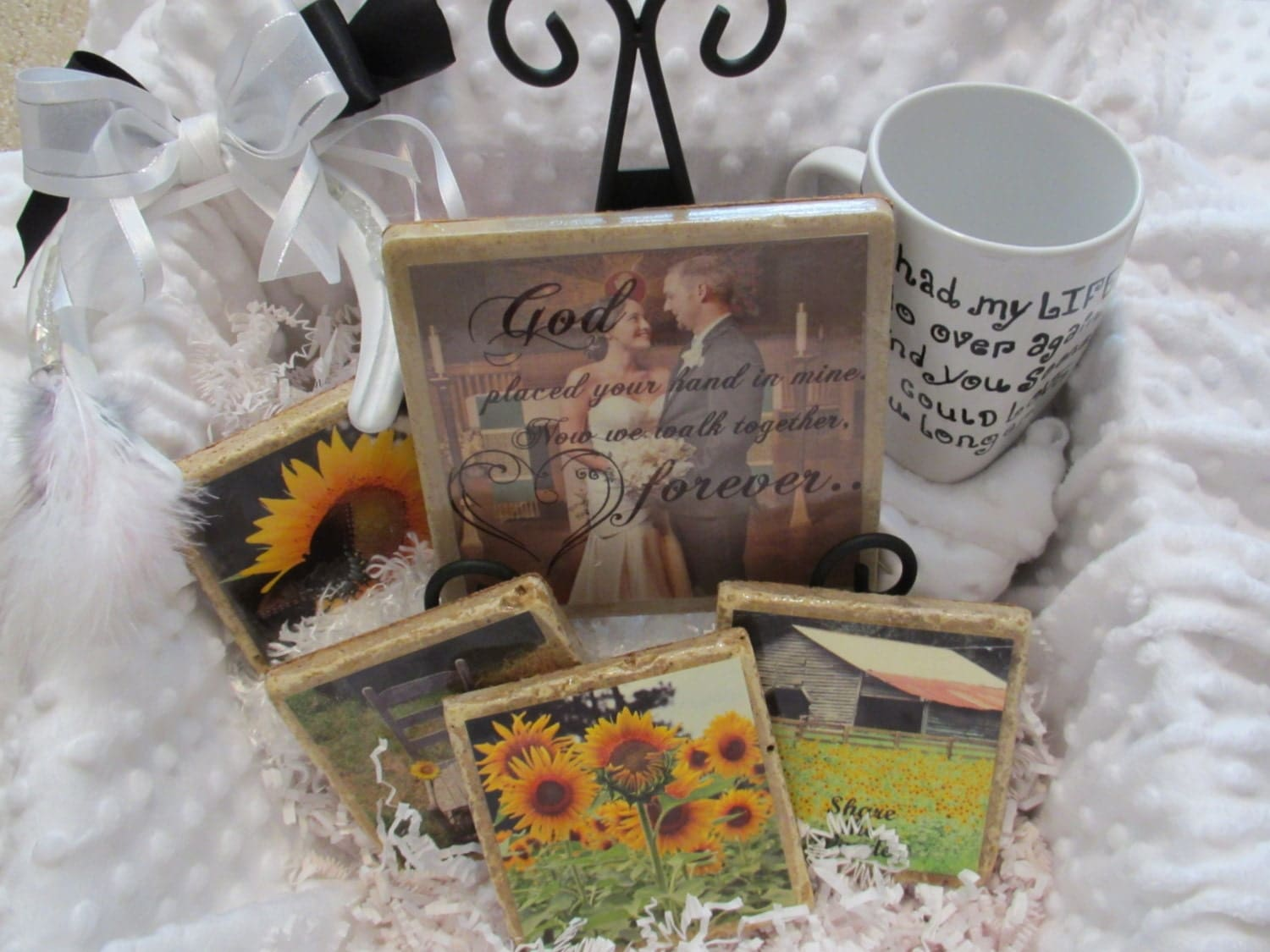 Wedding Engagement Gift Basket Items With Custom Plaque