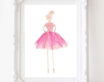 Ballet Art, Ballerina Art, Dancer, Ballerina Watercolor, Ballet Gift , Ballet Teacher Gift, Ballet Nursery, Ballerina Decor, Ballet Print