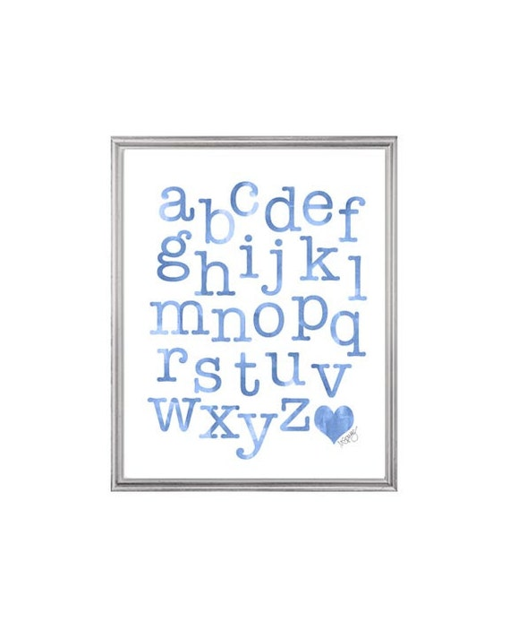 Blue Alphabet Print for Playroom, 8x10 Watercolor