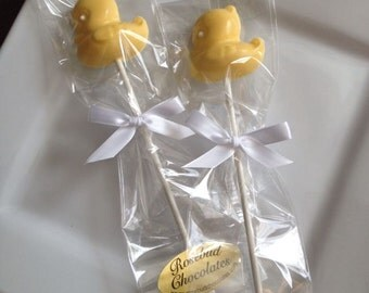 12 Chocolate Yellow Duck Lollipops Baby Shower Party Favors Candy