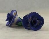 Dainty Flowers pair - polymer clay bead pair - blue-violet