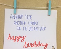 Free Shipping, Inappropriate Card, Birthday Card, Happy Birthday Card, Penis Joke, Over the Hill, Rude Card, Adult Humor
