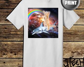Cat surfing Shark Shirt - galaxy cat / shark tee - tshirt PC54