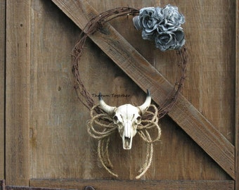 Country Western Wreath, Rustic Wreath, Barbwire Wreath, Black Denim Lace Roses, Barbwire Wreath with Faux Bull Skull & Black Denim Roses