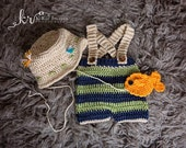 Crochet Fisherman Outfit, Newborn Fisherman Set, Baby Photo Prop, Newborn Fishing