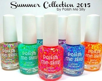 NEW Full Set of 10 Summer Collection Polishes :  Custom-Blended Indie Glitter Nail Polish / Lacquer Christmas