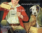 """Young Goy Cares for Sick Dog, """"Get Well NOW"""" 1920s Restored Antique Art, Restored Vintage Art  #41"""