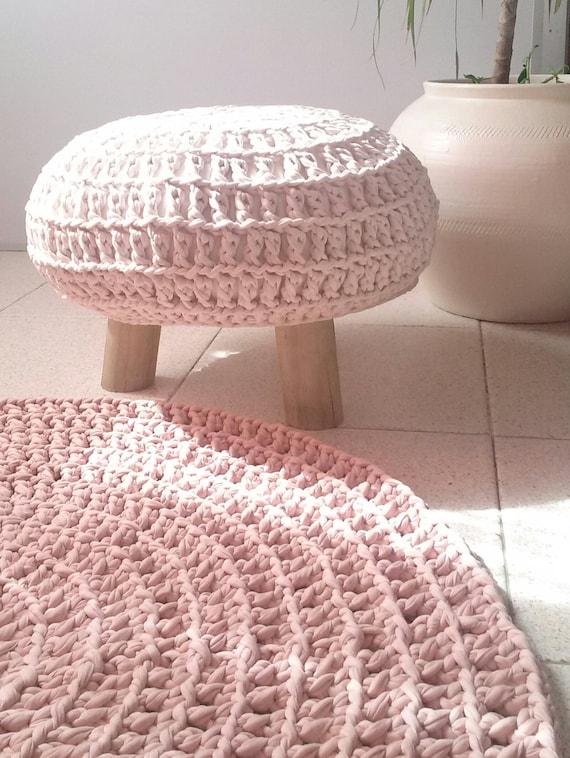Ottoman pouf & crochet rug - crochet pouf - crochet stool - pouf ...