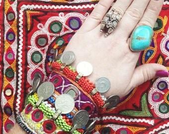 Pali Bracelet Afghani fabric mirror & coin bracelet