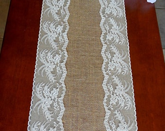 Burlap and lace table runner wedding table runner rustic wedding table decor party shower