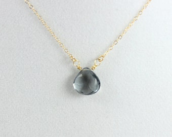 Gray Quartz Pendant Necklace Gemstone Gold Filled or Sterling Silver Chain Grey Minimalist Jewelry Delicate Simple Custom Gift for Her