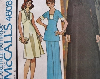 1970's Dress and Maxi Dress Tunic Pant Sewing Pattern McCalls 4608 Vintage