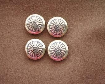 Metal Button Covers /Set of 4 / Large Floral Design Vintage