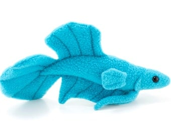 Blue Betta Fish Stuffed Animal Plush Toy - Plakat Tail Type Betta