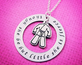 "Martial Arts Necklace, Brazilian Jiu Jitsu, BJJ Jewelry, Karate Necklace, ""Though She Be But Little, She is Fierce,"" BJJ Necklace, Gi"
