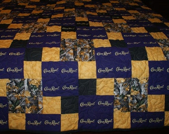 Crown Royal Quilt Custom Made to Order Crown Royal Quilt, Father's Day Gift, Couch Throw, Man Cave Blanket (You pick the size and pattern)