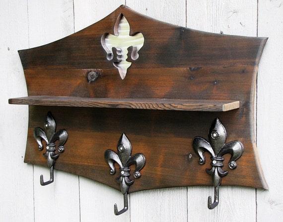 Fleur de lis entryway coat rack with shelf by coastaldesigngallery - Fleur de lis coat hook ...