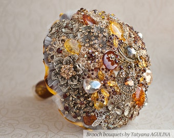 Brooch bouquet. Fall Wedding Brooch bouquet. Bridal bouquet.