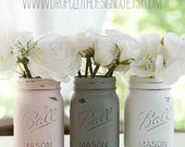 Pink, Greige, White Mason Jars - Painted and Distressed - Weddings, Showers, Shabby Chic