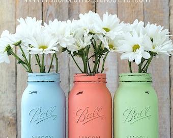 Pastel Mason Jars - Quart Size - Baby Blue, Coral, Mint Green