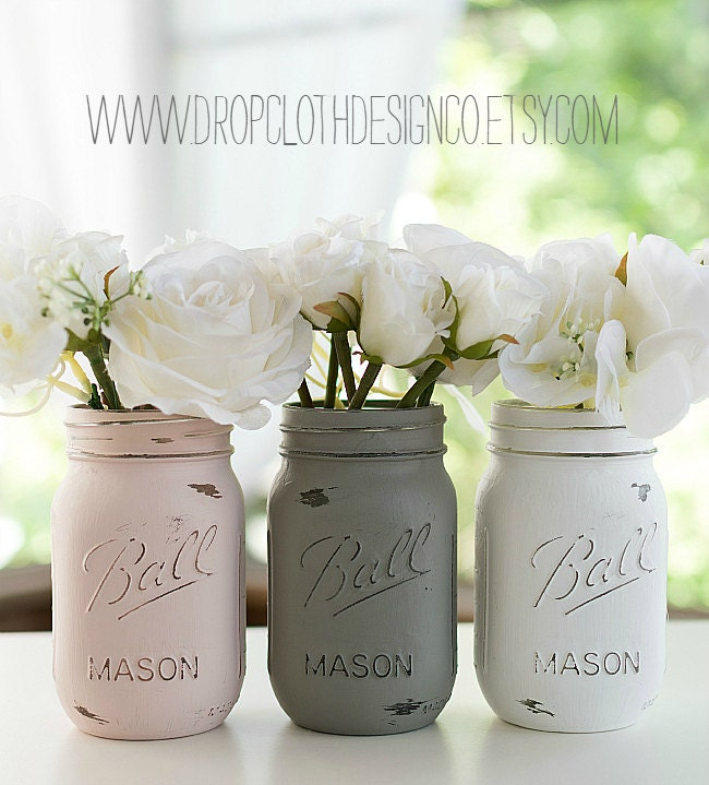 Pink Greige White Mason Jars Painted And By Dropclothdesignco