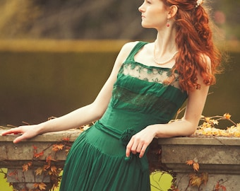 Crêpe & Lace Dress Forest Green One Of A Kind