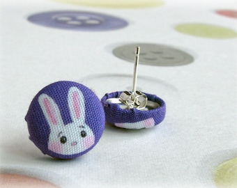 Bunny Button Earrings White Rabbit on Purple Background Post Stud Earring Pair Studs Illustrated Printed Fabric Jewellery