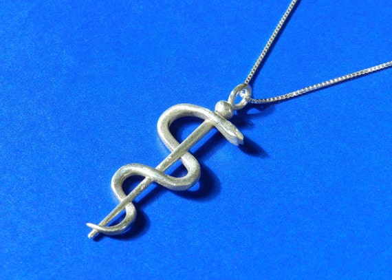Rod of Asclepius Pendant, Doctor Graduation Gift, Medical School Graduation Gift, Sterling Silver Physician Anniversary Necklace