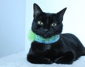 Collar for Cat with Quote in Blue and Green