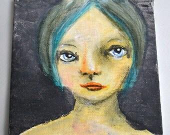 SALE Sweet Celeste, 4x4 inch Original Painting, Small Work, Girl Portrait Painting, Woman's Face, Blue Hair, Blue Eyes, CraftyMoira