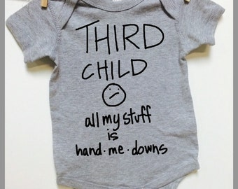 Baby Clothes. Third Child all my stuff is hand me downs. Gray short sleeve baby romper bodysuit. baby shower gift. baby announcement
