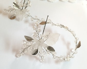 Wedding hair pins, Wedding headpiece, Wedding hair accessories, Silver hair pins, Silver headpiece, Bridal hair pins, Hair accessories, pins