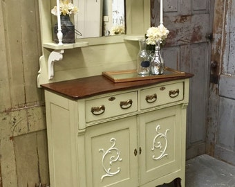 Vintage Sideboard, Green Shabby Chic Buffet, Distressed Buffet Sideboard, Antique Sideboard