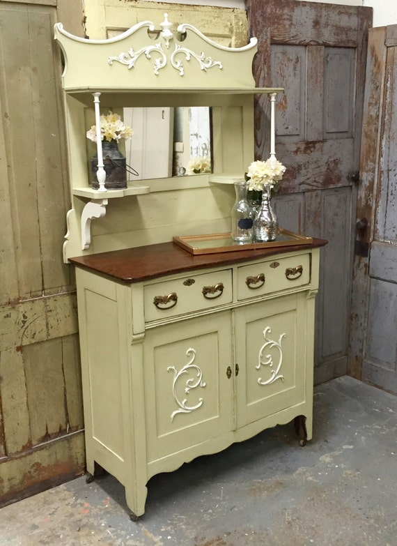 vintage sideboard green shabby chic buffet by vintagehipdecor. Black Bedroom Furniture Sets. Home Design Ideas