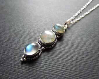 25% OFF SALE Labradorite Necklace - Spectrolite Jewelry - Blue Boho Layering Necklace - Labradorite Pendant -