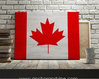 CANVAS // Canada Flag //  Oversized Canvas, Large Wall Art, Home Decor, Modern Art, Decoration, Herringbone, Stripes