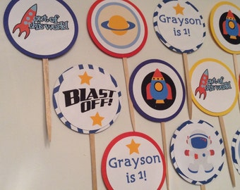 Space Rocket Planet Birthday Cupcake toppers