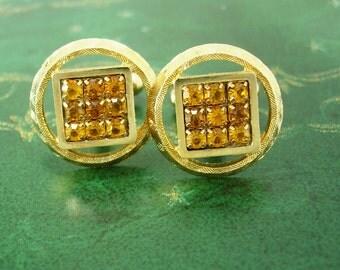 Sparkling Golden Topaz Cufflinks Vintage Wedding gold Cuff Links mens womens rhinestone jewellery November Birthstone