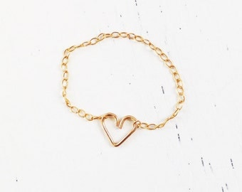 Heart ring, gold heart ring, silver heart ring, tiny ring, chain ring, tiny ring, gold filled ring, Minimum Jewelry