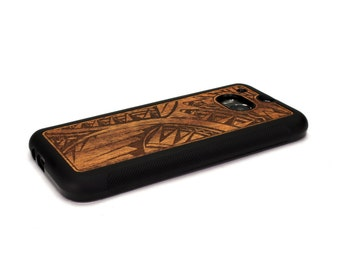 HTC One M8 Case Wood Tribal Design Engraved, HTC One Case Wood HTC One Case, Htc One Wood Case, Wood Htc One M8 Case, Htc One M8 Wood
