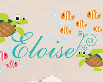 Sea Turtle Decal- Under The Sea Decal - Ocean Wall Decal - Fish Wall Decal- Monagram- Nursery Wall Decal