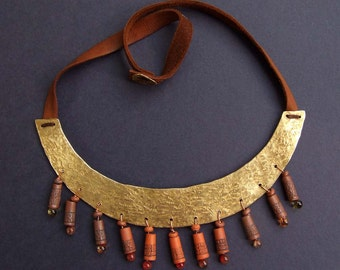 Statement brass necklace Scythian, leather ceramic glass, brown beige, trible boho style