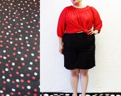 Plus Size - Vintage Black Polka Dot High Waist Shorts (Size 18/20)