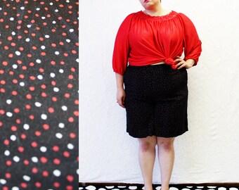 Plus Size - Vintage Black Polka Dot High Waist Shorts (Size 18/20)