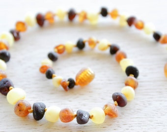 Unpolished Baltic Amber teething necklace.